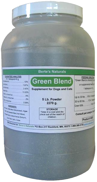 Berte\'s Green Blend Sea Vegetation Minerals and Vitamins for Dogs, Cats and Birds (5 lb)